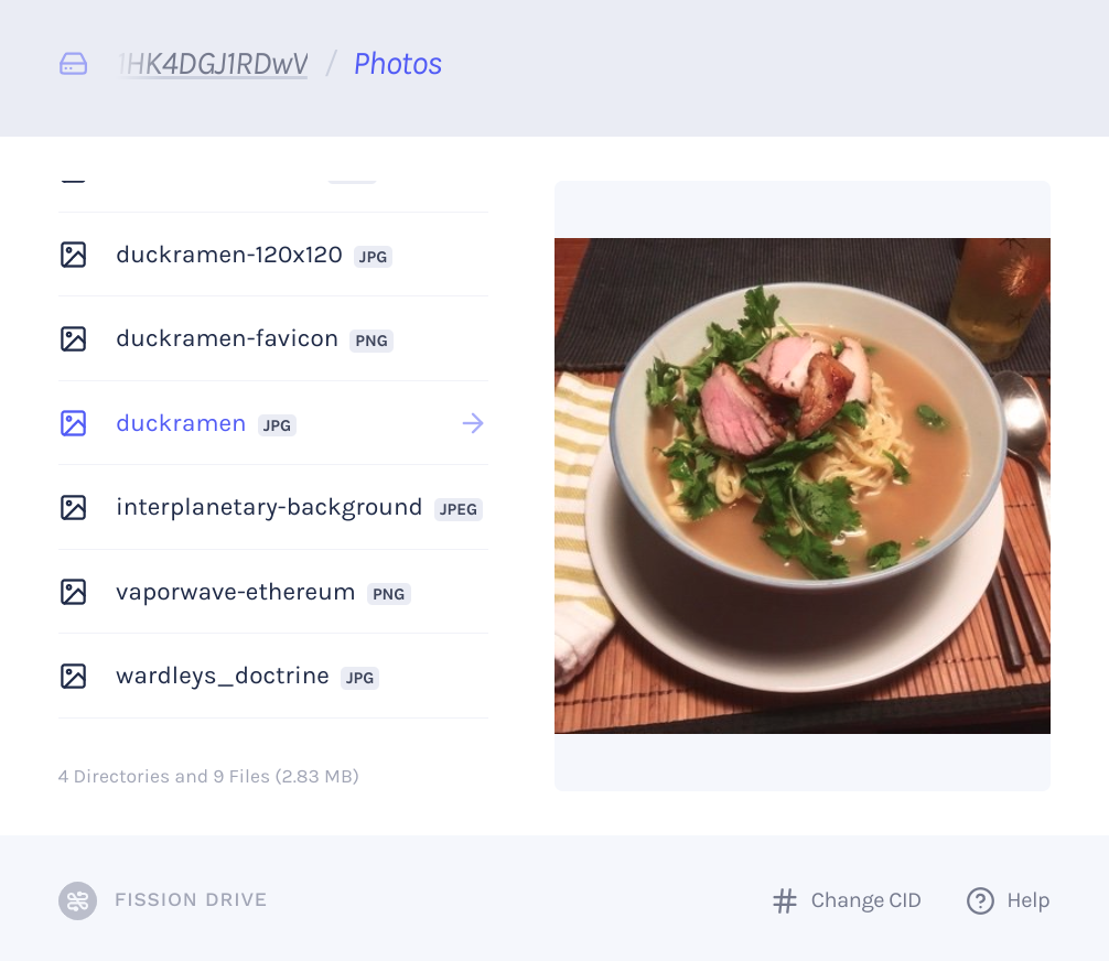 Fission Drive Preview Screenshot with Duck Ramen Preview